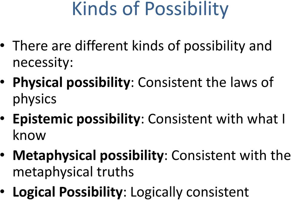Epistemic possibility: Consistent with what I know Metaphysical