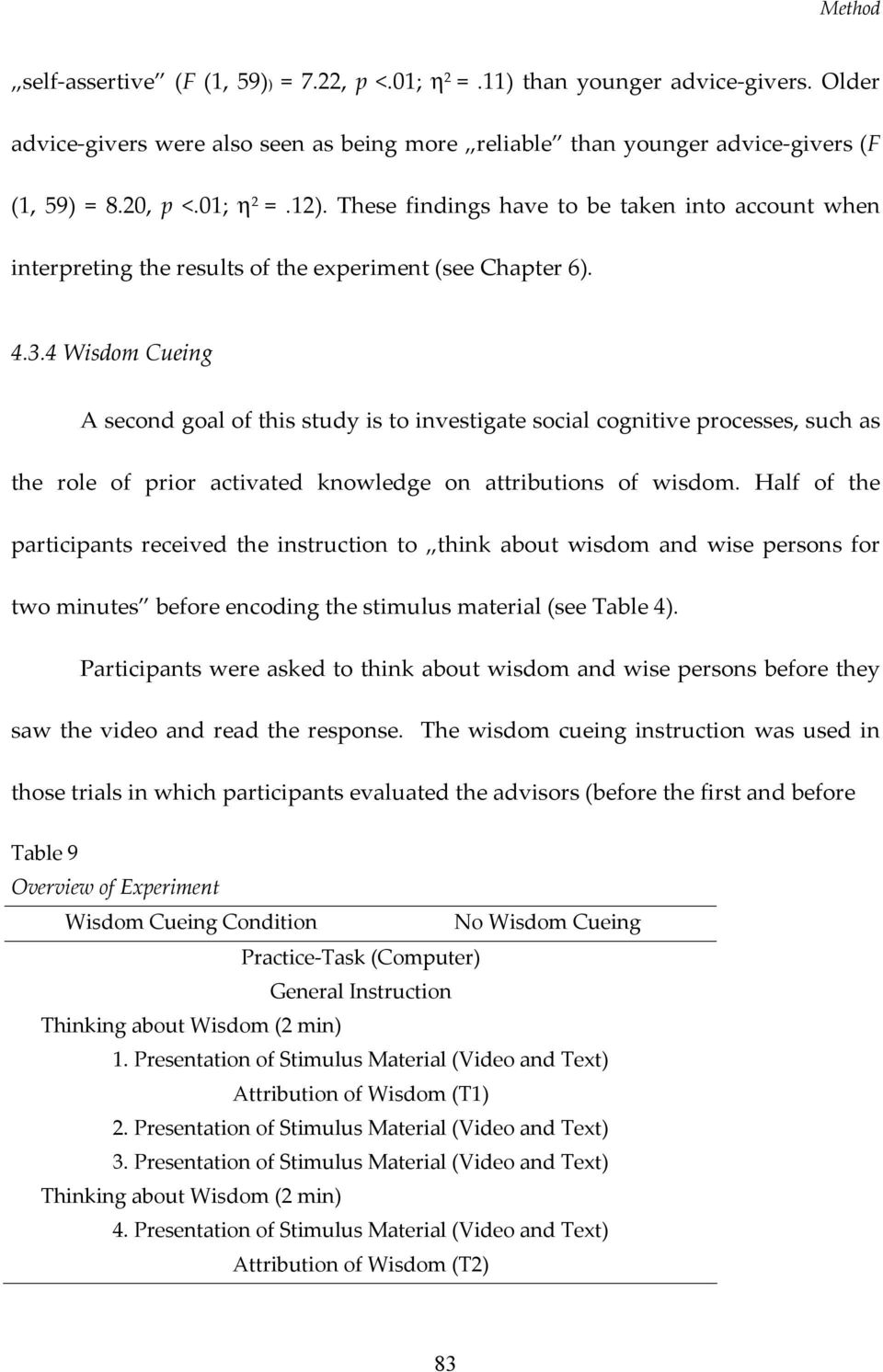4 Wisdom Cueing A second goal of this study is to investigate social cognitive processes, such as the role of prior activated knowledge on attributions of wisdom.