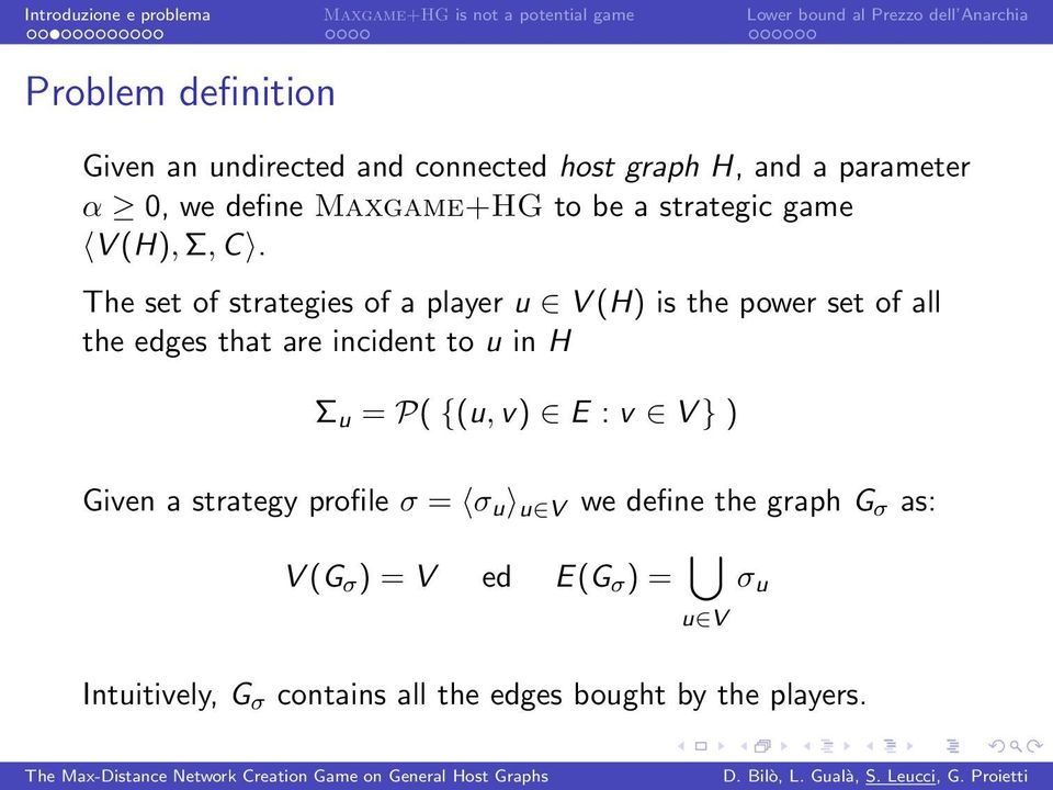 The set of strategies of a player u V (H) is the power set of all the edges that are incident to u in H Σ u =