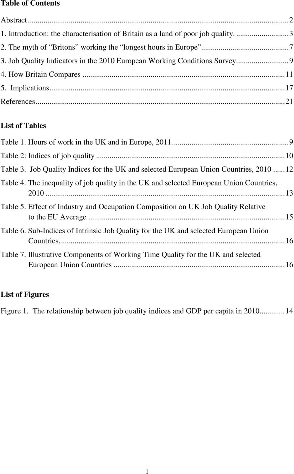 Hours of work in the UK and in Europe, 2011... 9 Table 2: Indices of job quality... 10 Table 3. Job Quality Indices for the UK and selected European Union Countries, 2010... 12 Table 4.