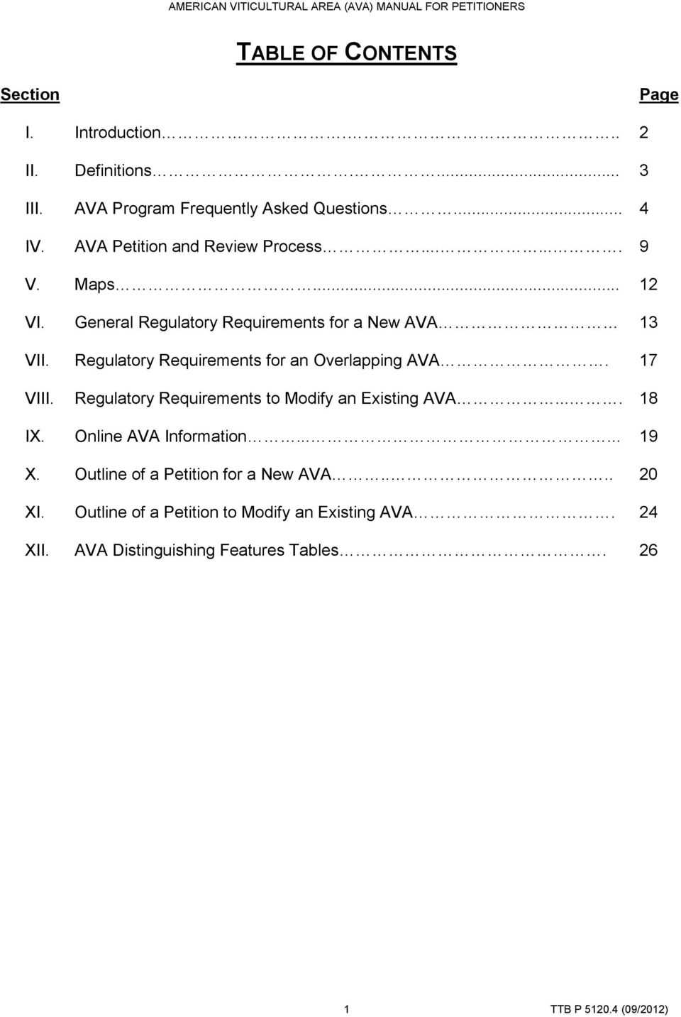 Regulatory Requirements for an Overlapping AVA. 17 VIII. Regulatory Requirements to Modify an Existing AVA.... 18 IX.