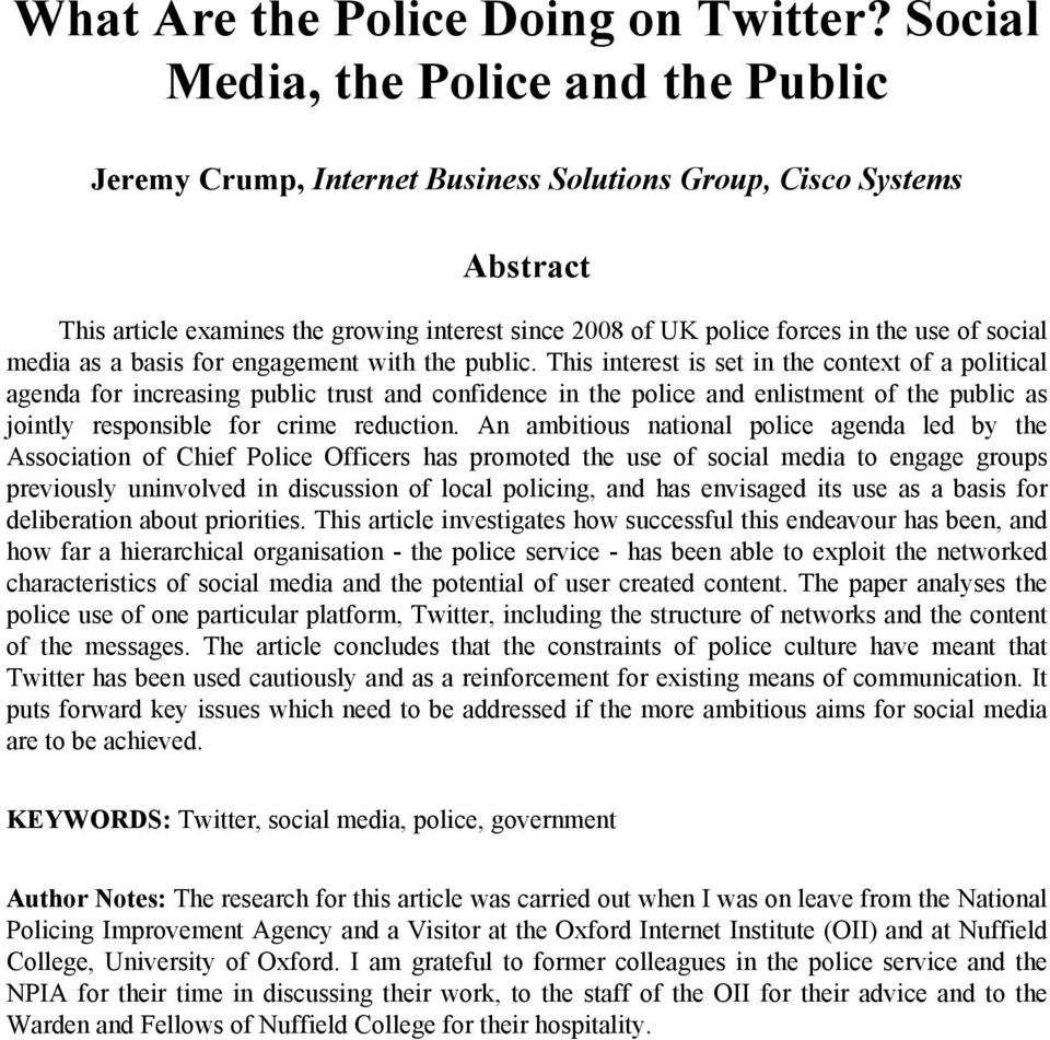 social media as a basis for engagement with the public.