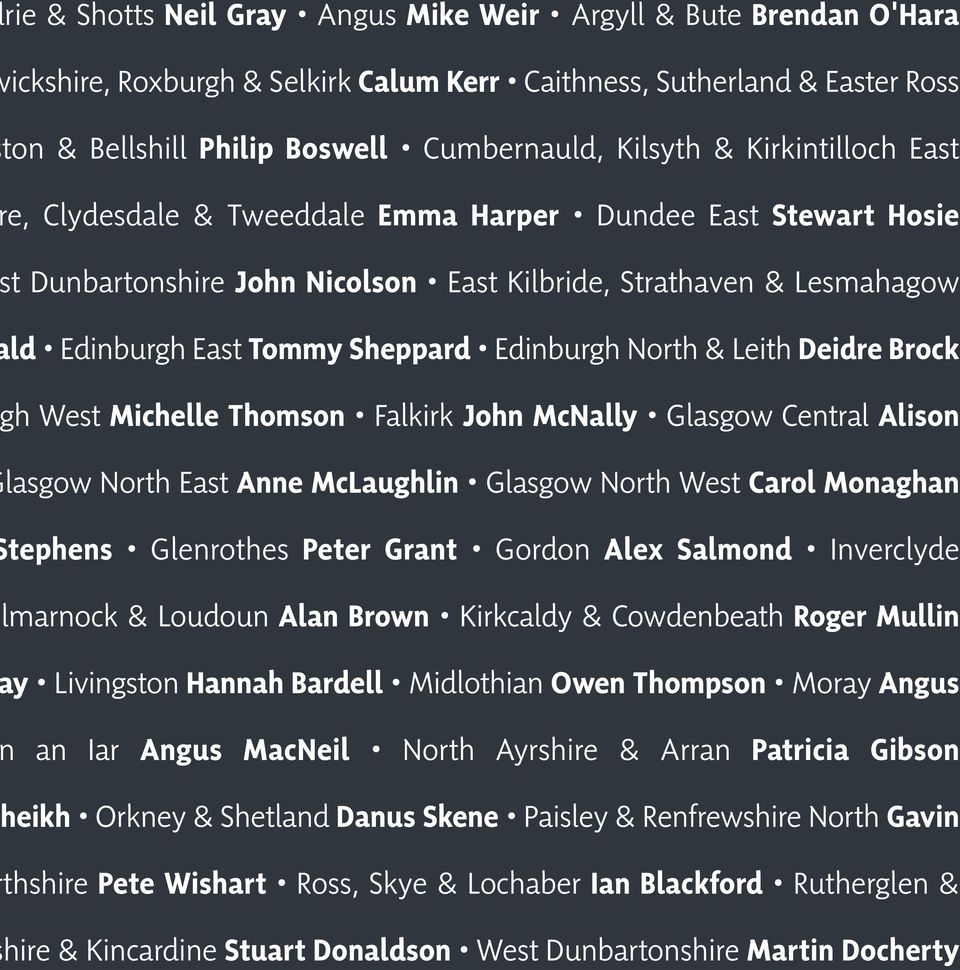 North & Leith Deidre Brock h West Michelle Thomson Falkirk John McNally Glasgow Central Alison lasgow North East Anne McLaughlin Glasgow North West Carol Monaghan tephens Glenrothes Peter Grant