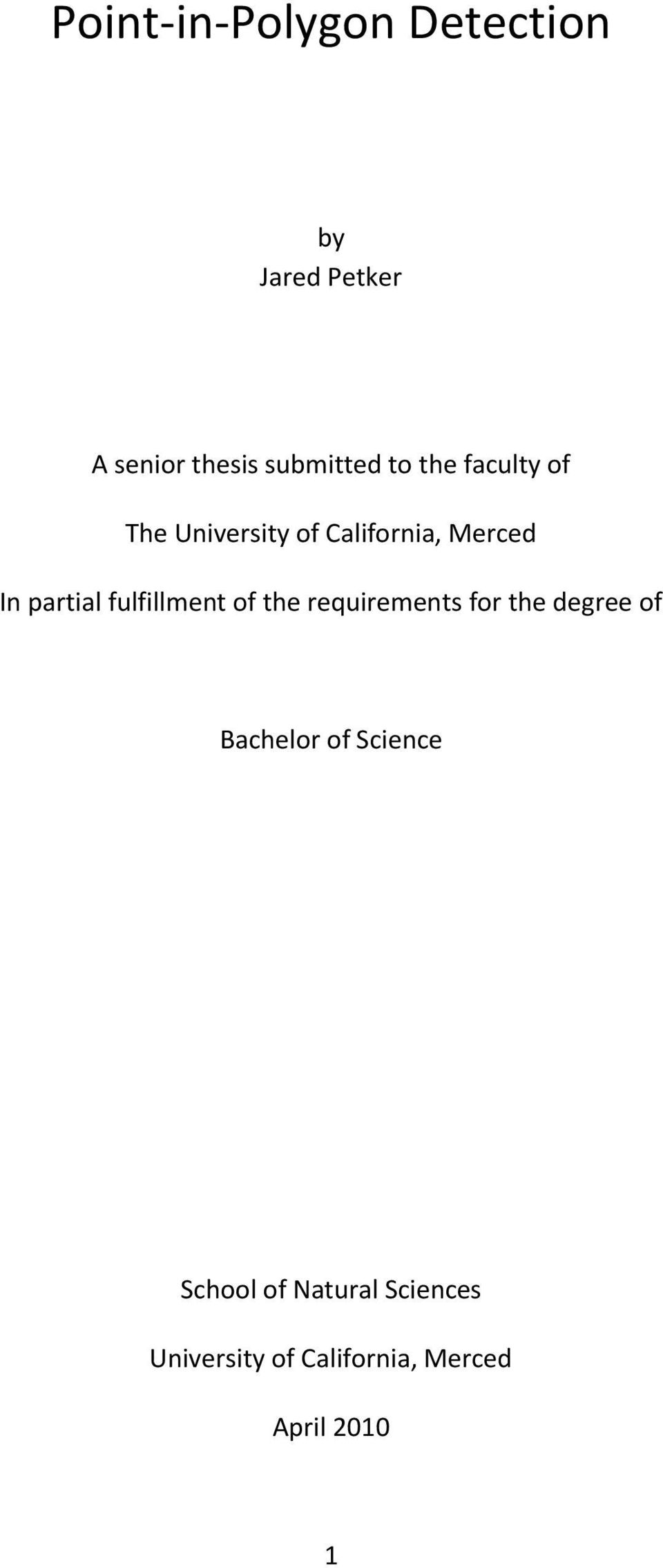 fulfillment of the requirements for the degree of Bachelor of Science