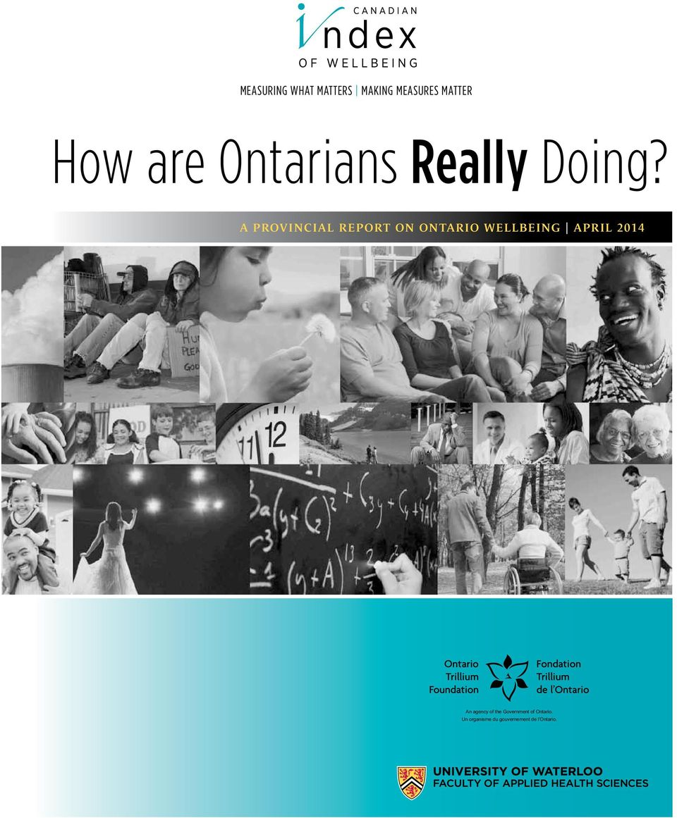 A provincial report on ontario Wellbeing April 2014