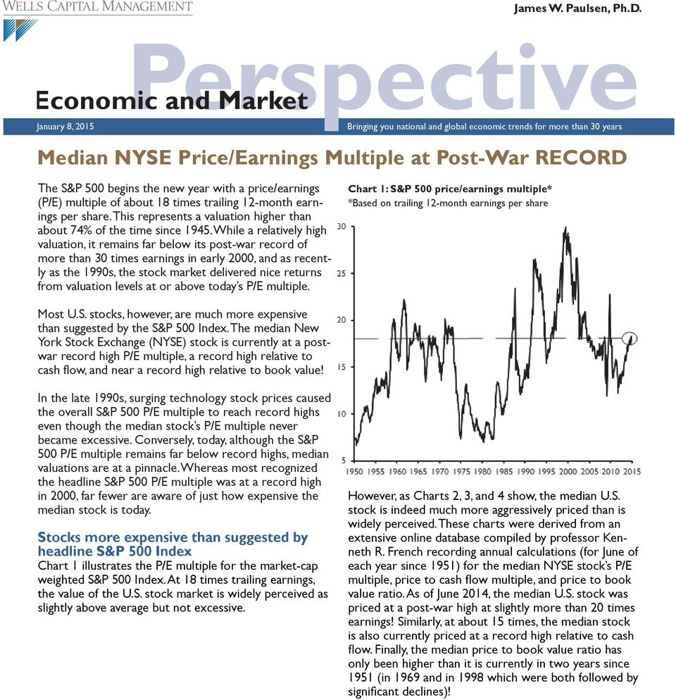 new year with a price/earnings (P/E) multiple of about 18 times trailing 12-month earnings per share. This represents a valuation higher than about 74% of the time since 1945.