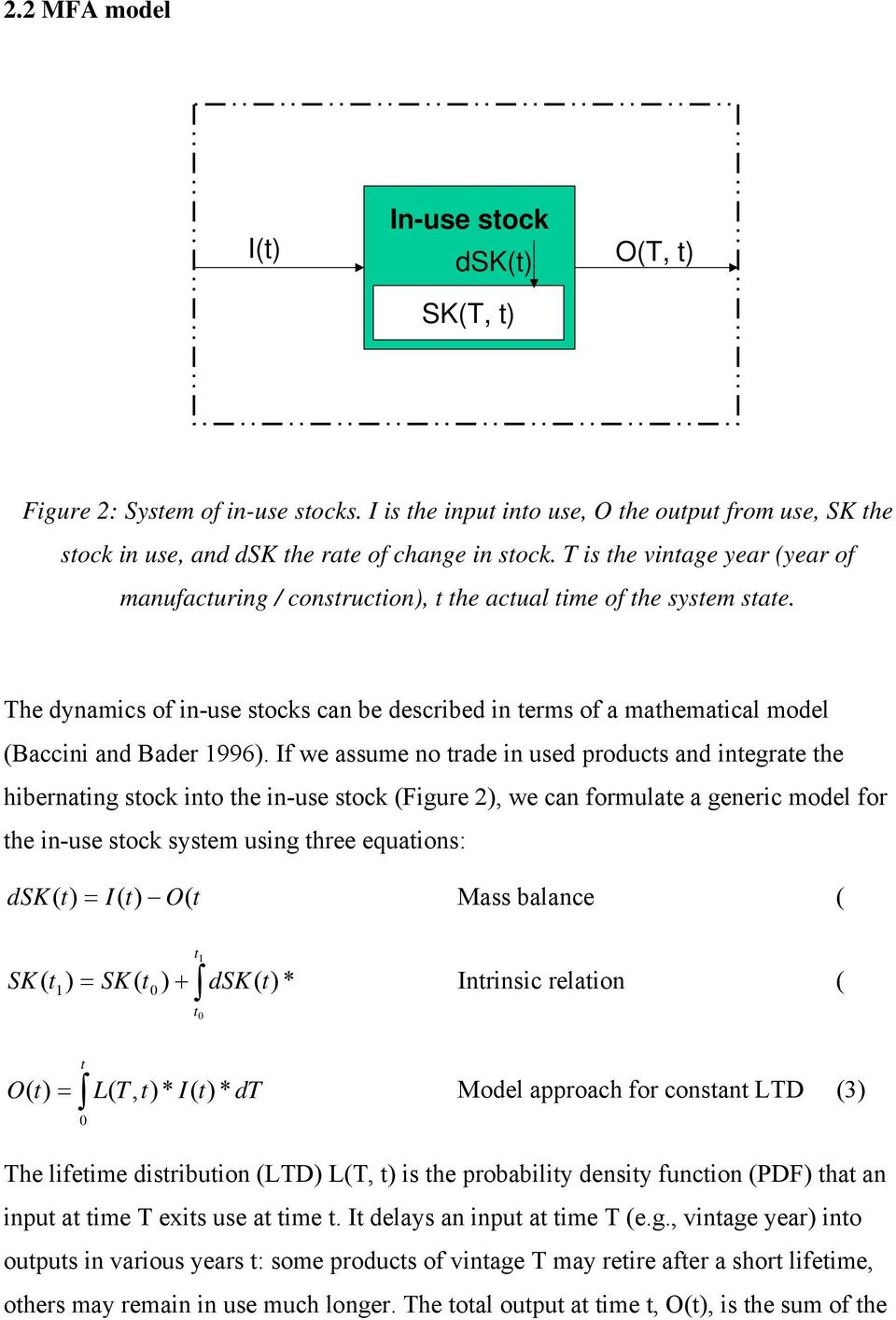 The dynamics of in-use stocks can be described in terms of a mathematical model (Baccini and Bader 1996).