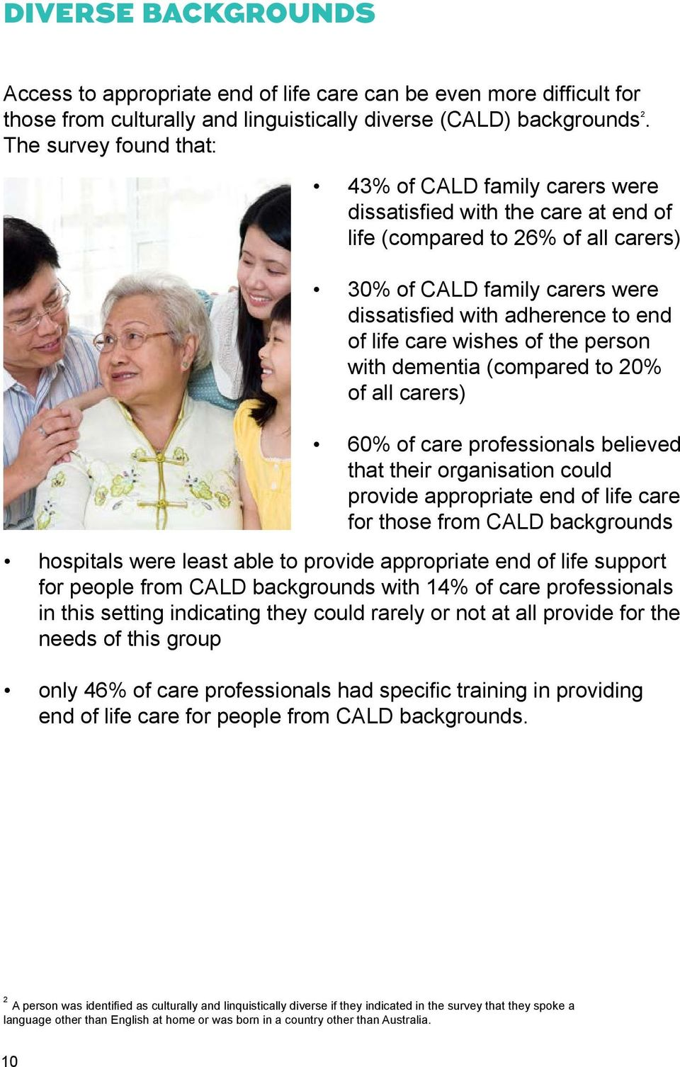 life care wishes of the person with dementia (compared to 20% of all carers) 60% of care professionals believed that their organisation could provide appropriate end of life care for those from CALD