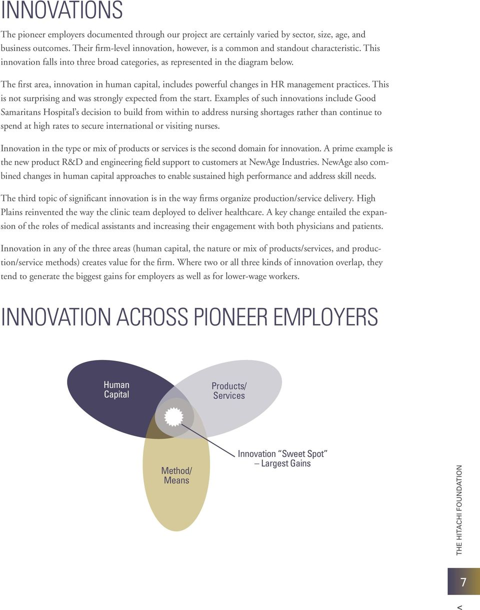 The first area, innovation in human capital, includes powerful changes in HR management practices. This is not surprising and was strongly expected from the start.