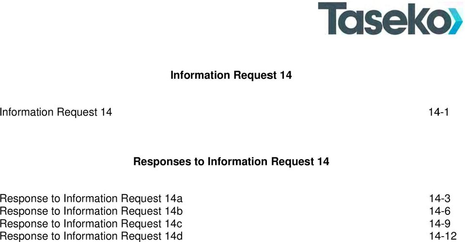 Response to Information Request 14b Response to Information