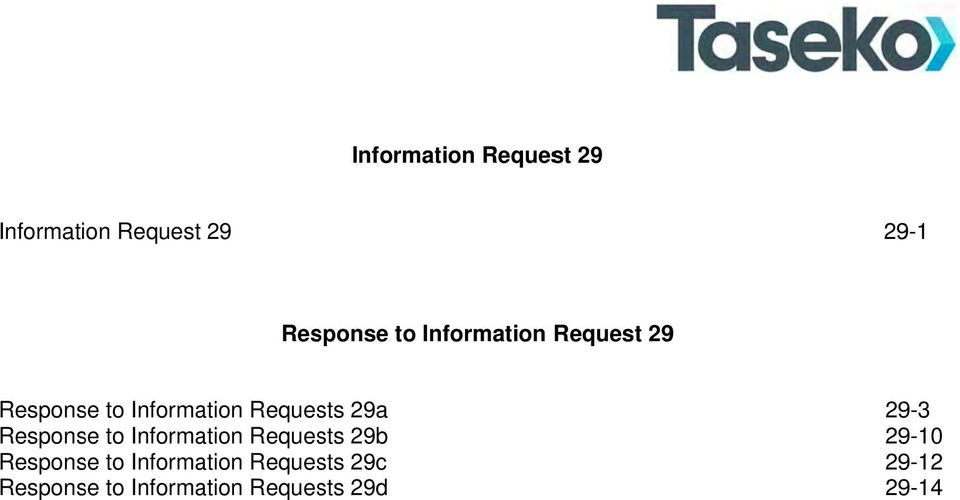 Response to Information Requests 29b Response to Information