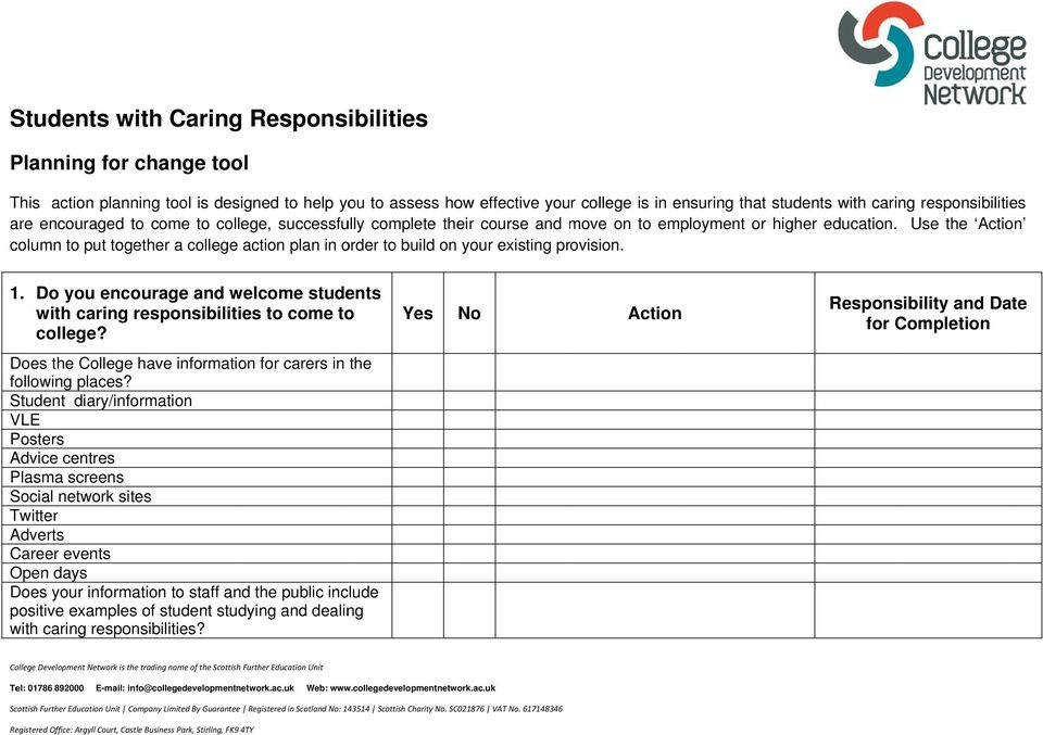 Use the Action column to put together a college action plan in order to build on your existing provision. 1. Do you encourage and welcome students with caring responsibilities to come to college?