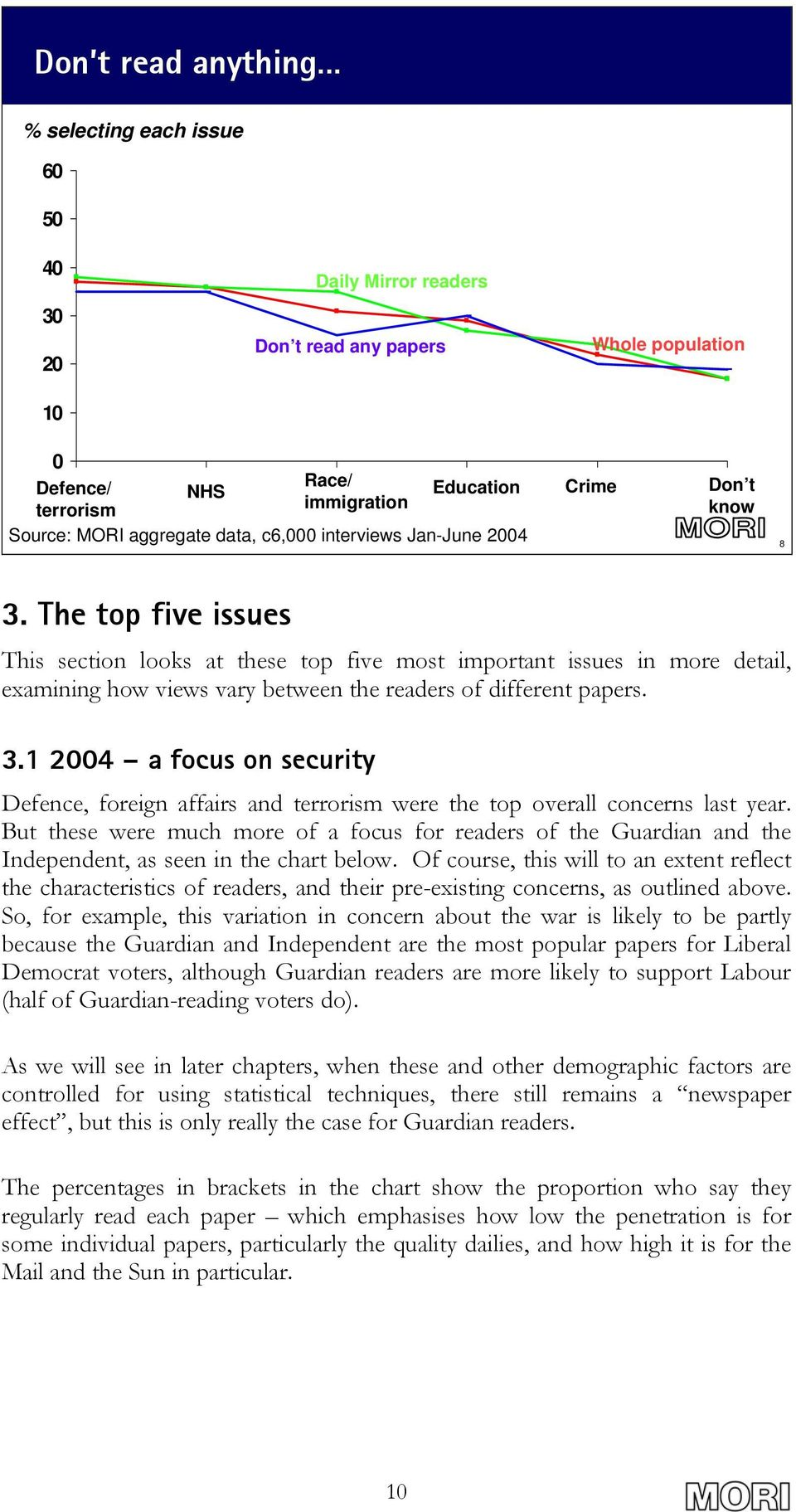 The top five issues This section looks at these top five most important issues in more detail, examining how views vary between the readers of different papers. 3.