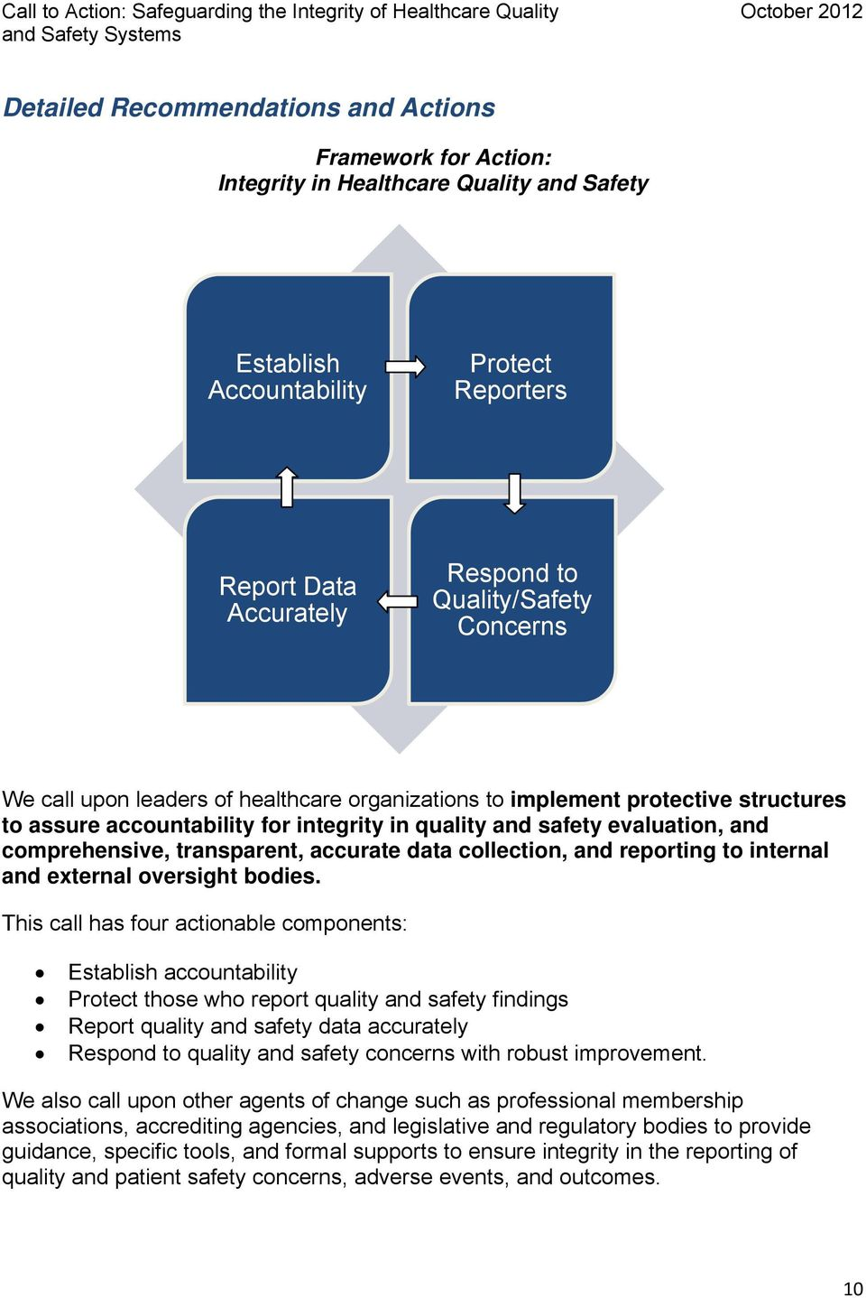 accurate data collection, and reporting to internal and external oversight bodies.