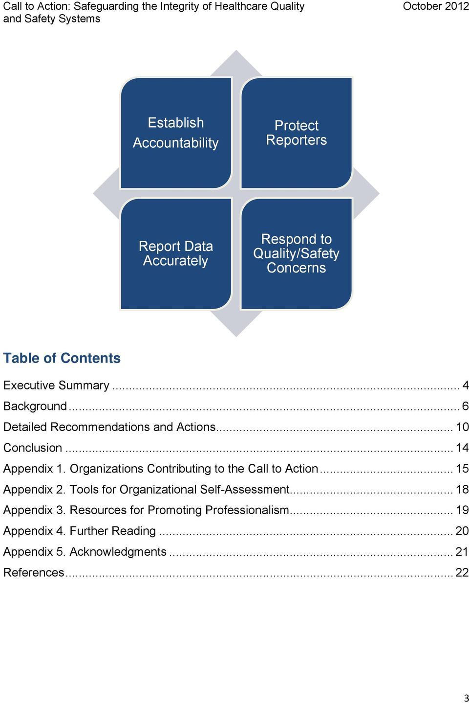 Organizations Contributing to the Call to Action... 15 Appendix 2. Tools for Organizational Self-Assessment.