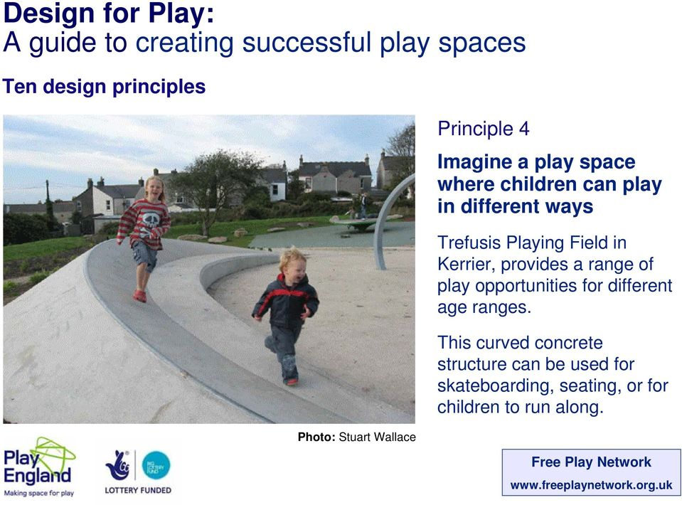 of play opportunities for different age ranges.