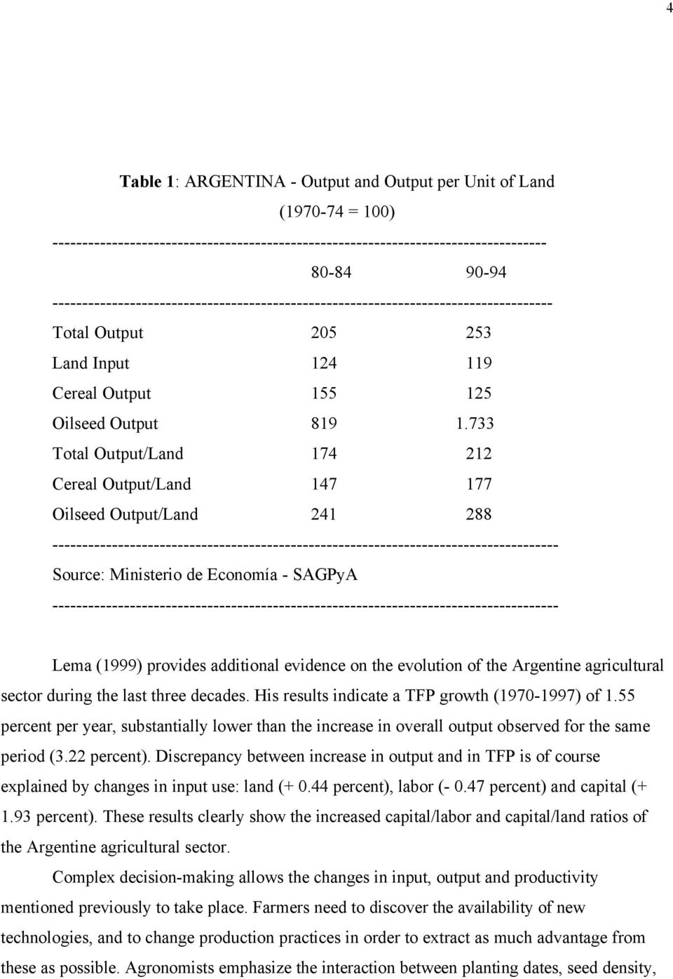 733 Total Output/Land 174 212 Cereal Output/Land 147 177 Oilseed Output/Land 241 288 ------------------------------------------------------------------------------------- Source: Ministerio de