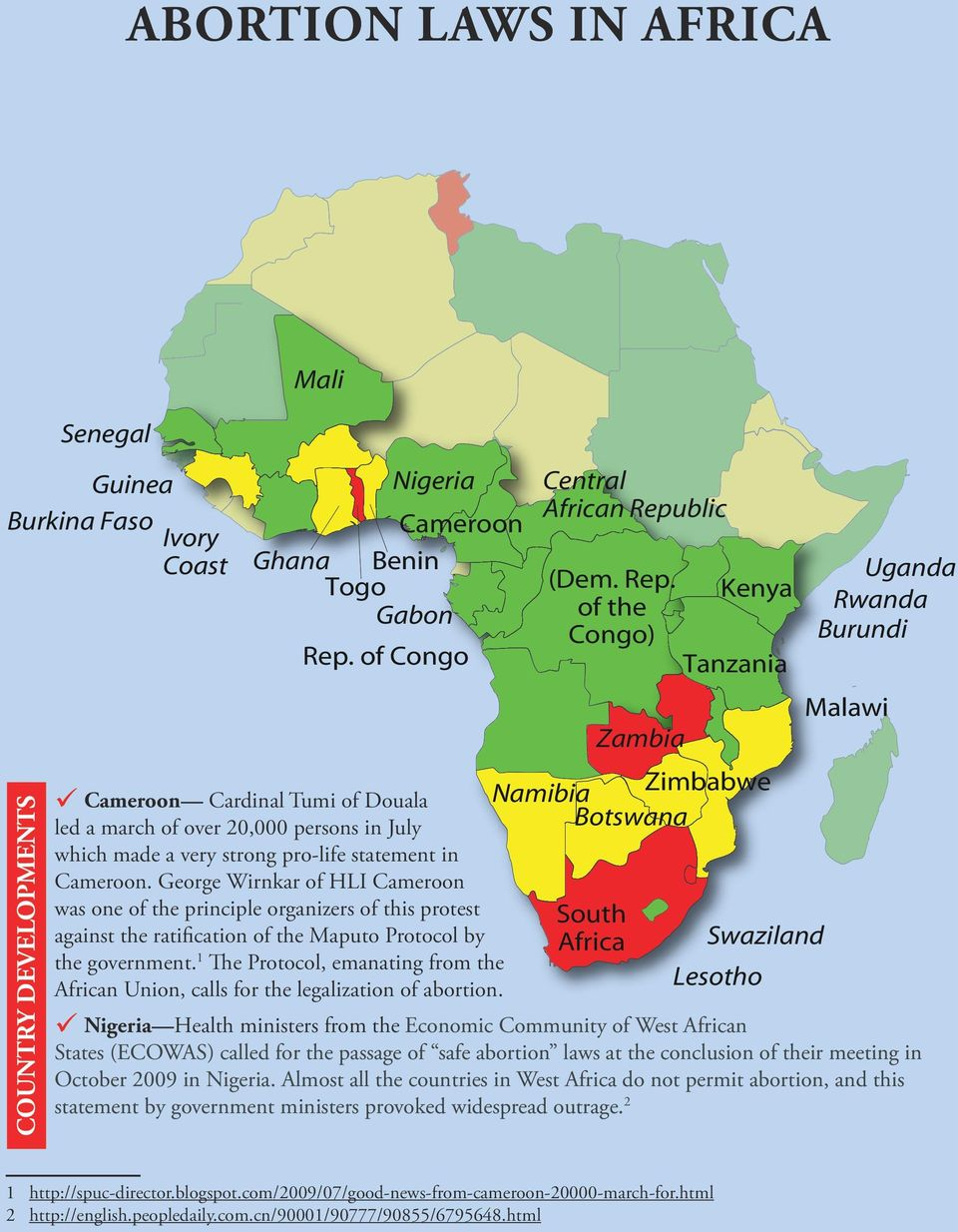 government 1 The Protocol, emanating from the African Union, calls for the legalization of abortion Central African Republic (Dem Rep of the Congo) Zambia Kenya Tanzania Namibia Zimbabwe Botswana