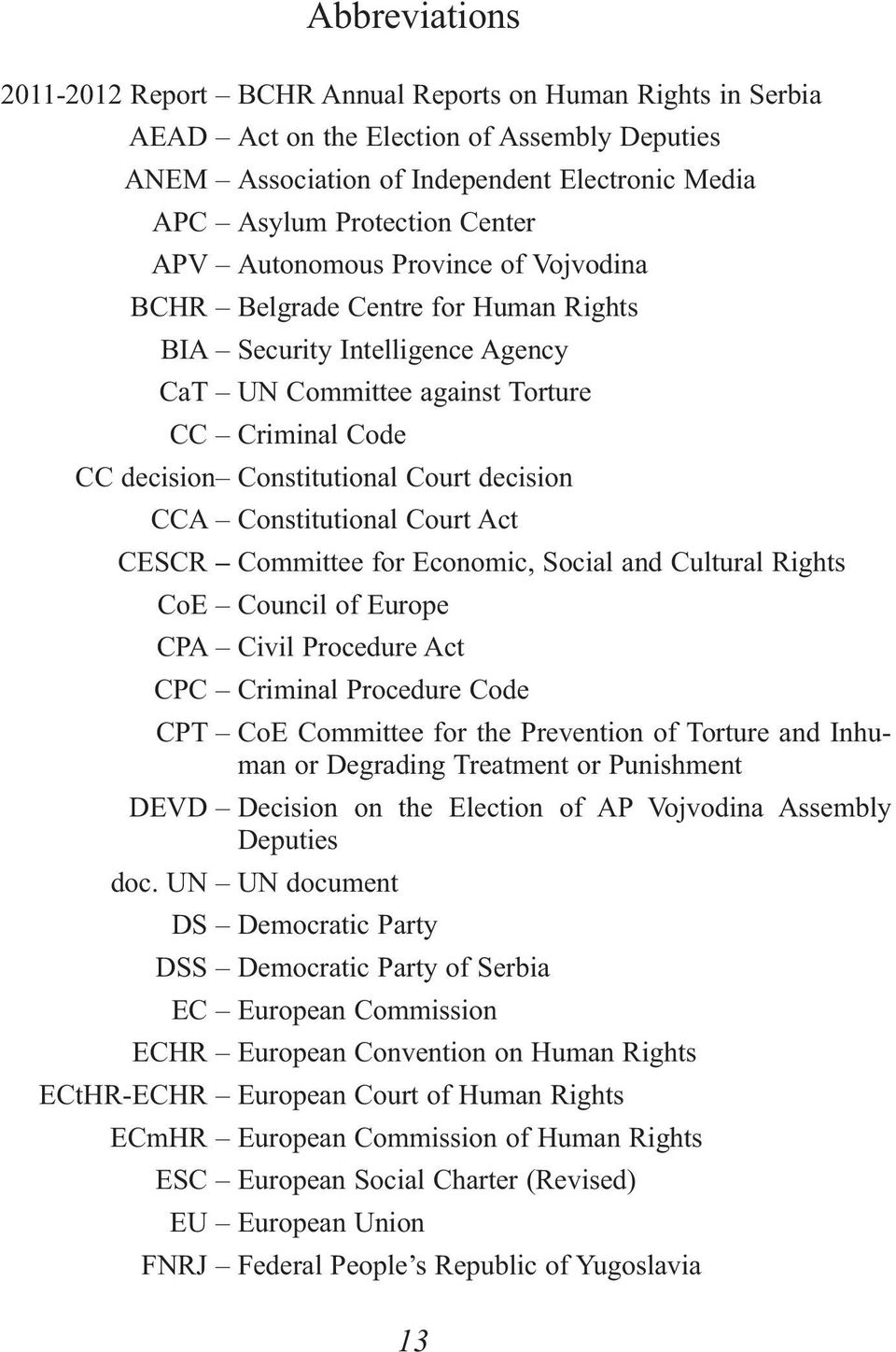 decision CCA Constitutional Court Act CESCR Committee for Economic, Social and Cultural Rights CoE Council of Europe CPA Civil Procedure Act CPC Criminal Procedure Code CPT CoE Committee for the