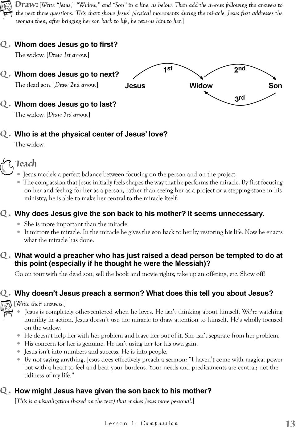 The dead son. [Draw 2nd arrow.] Jesus 1 st 2 nd Widow Son Q. Whom does Jesus go to last? The widow. [Draw 3rd arrow.] 3 rd Q. Who is at the physical center of Jesus love? The widow. Teach Jesus models a perfect balance between focusing on the person and on the project.