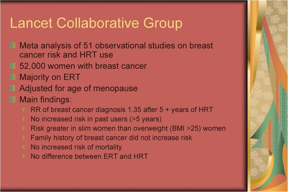 35 after 5 + years of HRT No increased risk in past users (>5 years) Risk greater in slim women than overweight (BMI
