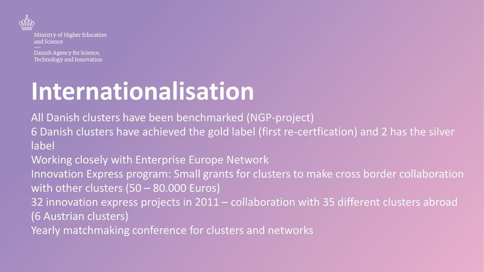 Small grants for clusters to make cross border collaboration with other clusters (50 80.