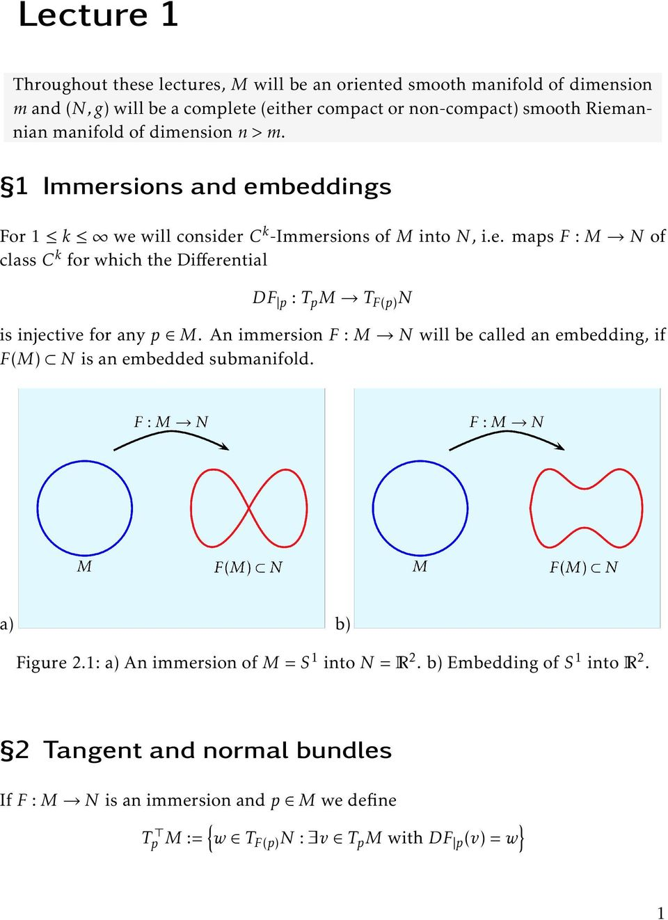 An immersion F : M N will be called an embedding, if F(M) N is an embedded submanifold. a) b) Figure 2.1: a) An immersion of M = S 1 into N = R 2.