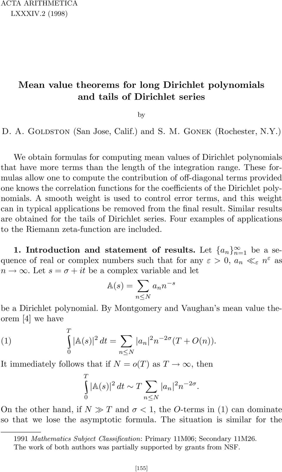 hese formulas allow one to compute the contribution of off-diagonal terms provided one knows the correlation functions for the coefficients of the Dirichlet polynomials.