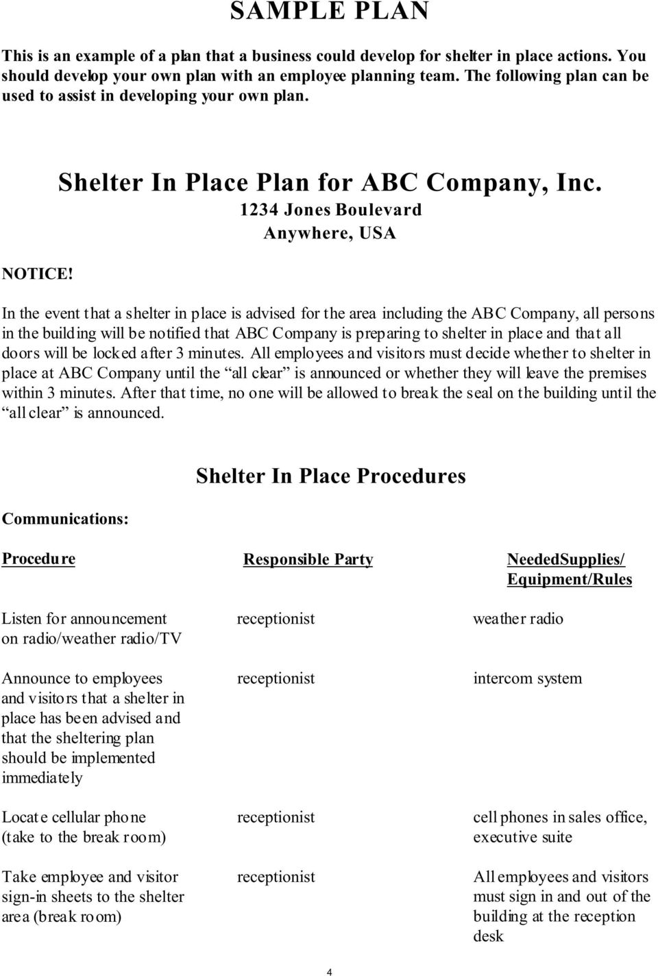 1234 Jones Boulevard Anywhere, USA In the event that a shelter in place is advised for the area including the ABC Company, all persons in the building will be notified that ABC Company is preparing