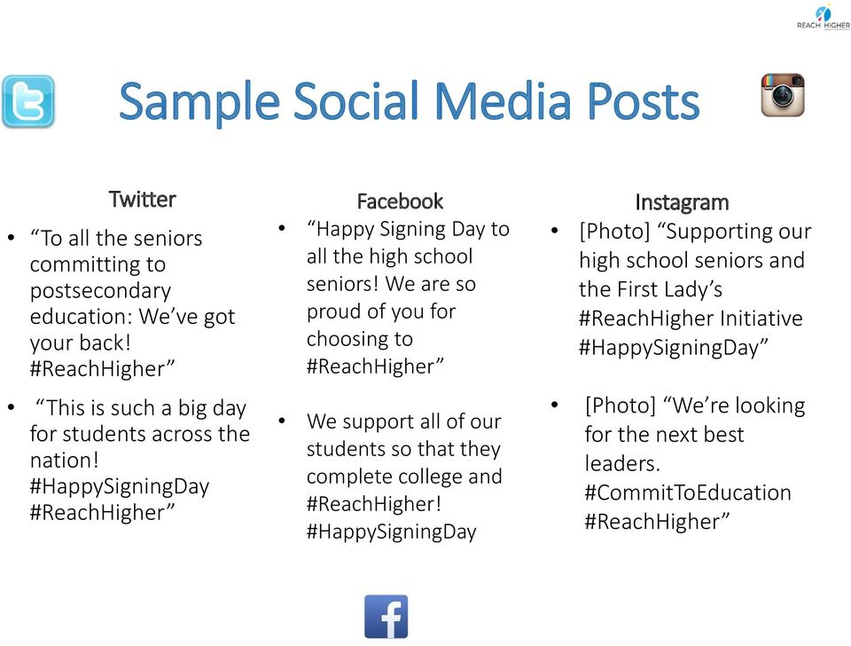 #HappySigningDay #ReachHigher Facebook Happy Signing Day to all the high school seniors!