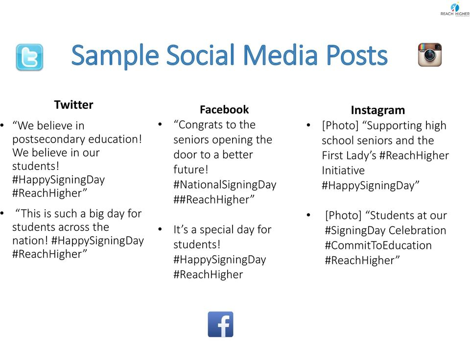 #HappySigningDay #ReachHigher Facebook Congrats to the seniors opening the door to a better future!