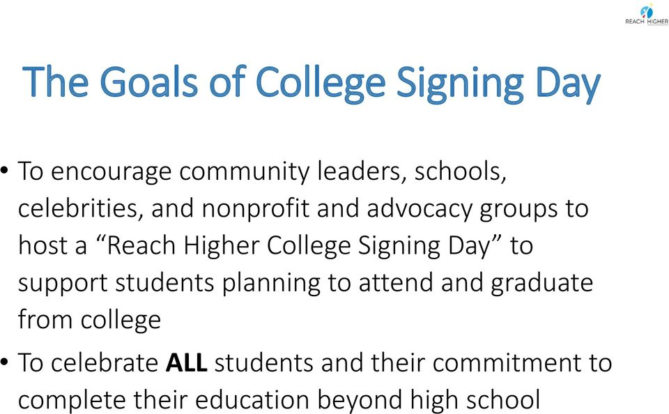 Signing Day to support students planning to attend and graduate from college To