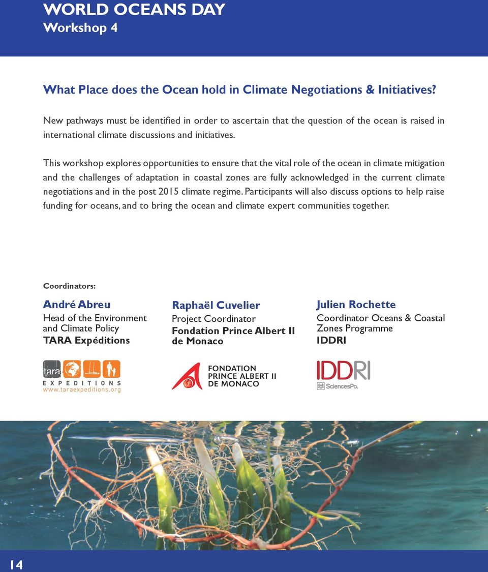 This workshop explores opportunities to ensure that the vital role of the ocean in climate mitigation and the challenges of adaptation in coastal zones are fully acknowledged in the current climate