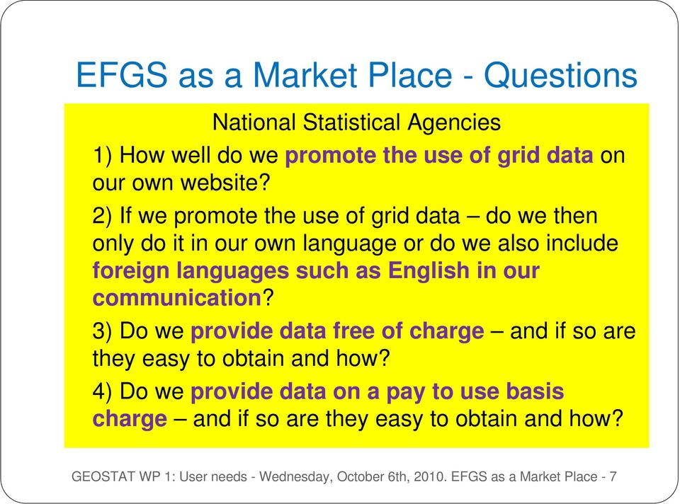 in our communication? 3) Do we provide data free of charge and if so are they easy to obtain and how?