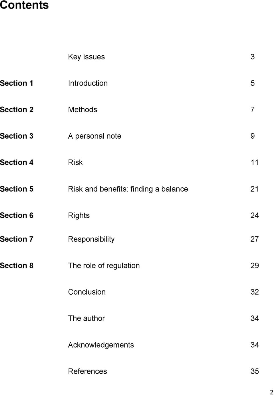 balance 21 Section 6 Rights 24 Section 7 Responsibility 27 Section 8 The role