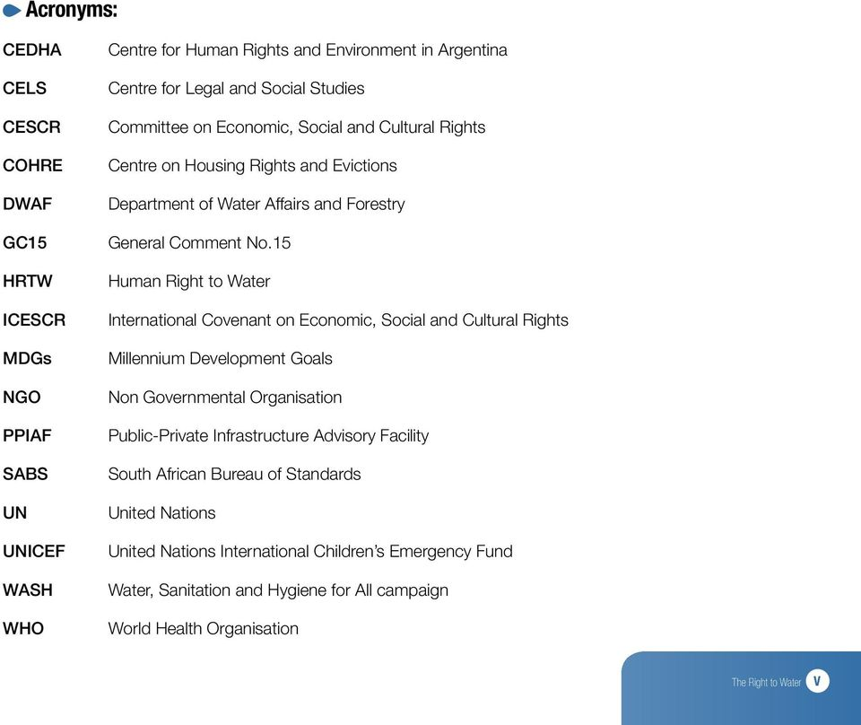 15 Human Right to Water International Covenant on Economic, Social and Cultural Rights Millennium Development Goals Non Governmental Organisation Public-Private Infrastructure
