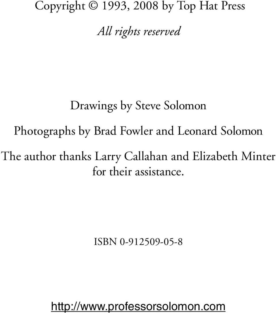 Solomon The author thanks Larry Callahan and Elizabeth Minter