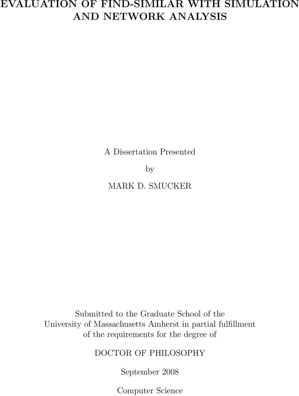 SMUCKER Submitted to the Graduate School of the University of