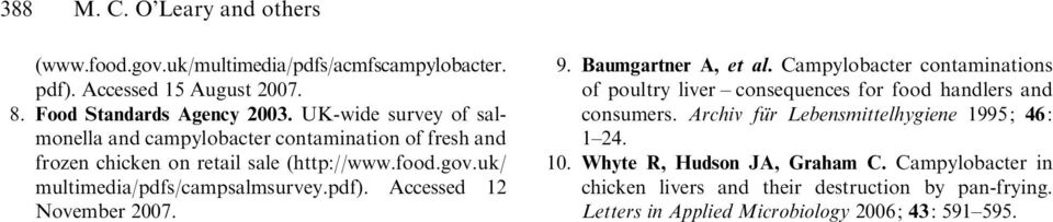 pdf). Accessed 12 November 2007. 9. Baumgartner A, et al. Campylobacter contaminations of poultry liver consequences for food handlers and consumers.