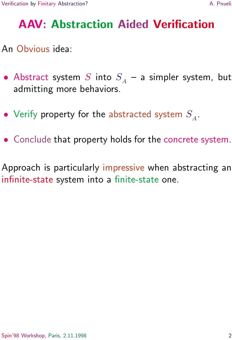Conclude that property holds for the concrete system.