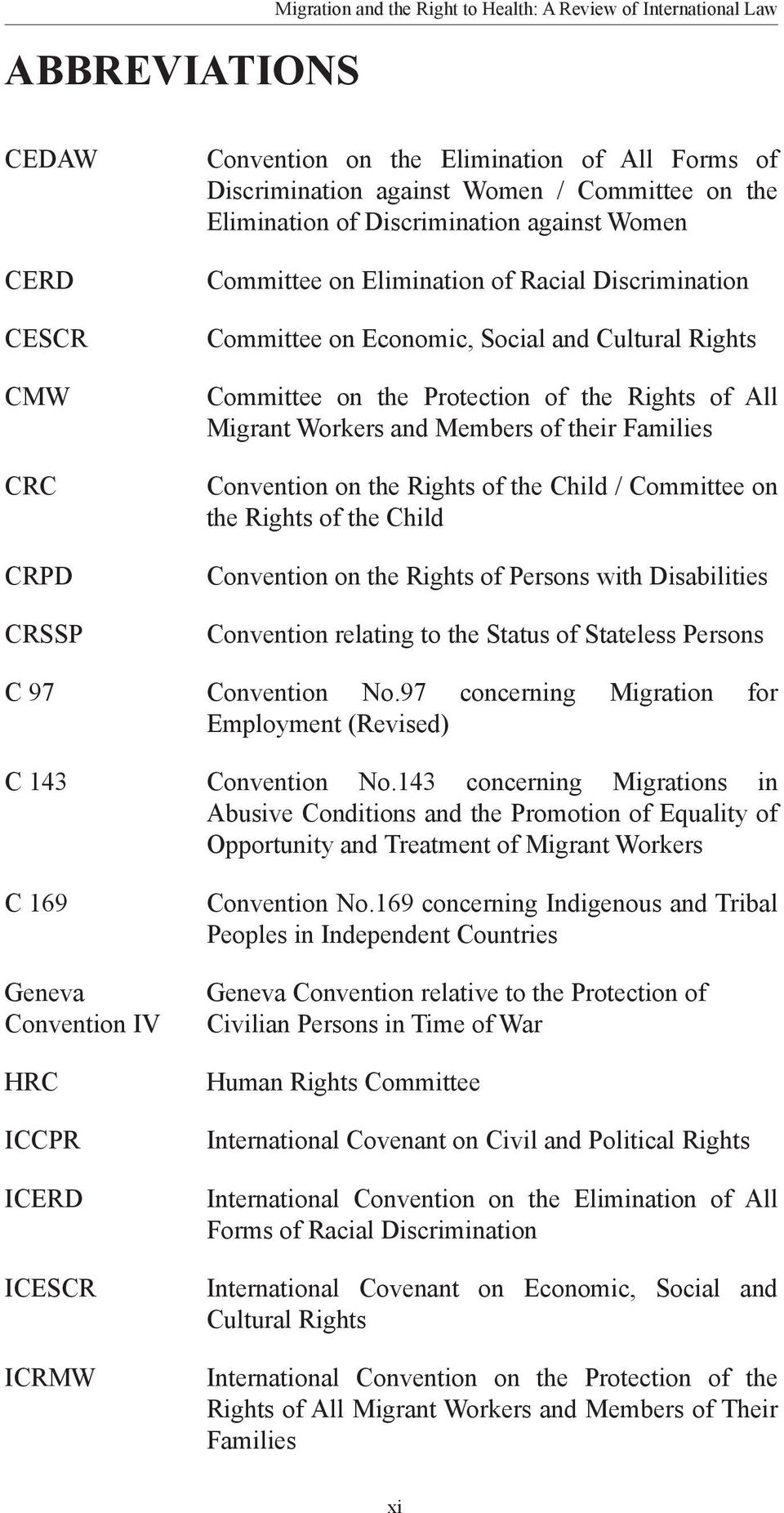 Rights of All Migrant Workers and Members of their Families Convention on the Rights of the Child / Committee on the Rights of the Child Convention on the Rights of Persons with Disabilities