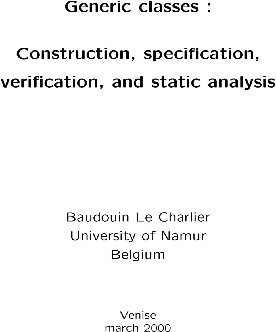 static analysis Baudouin Le Charlier