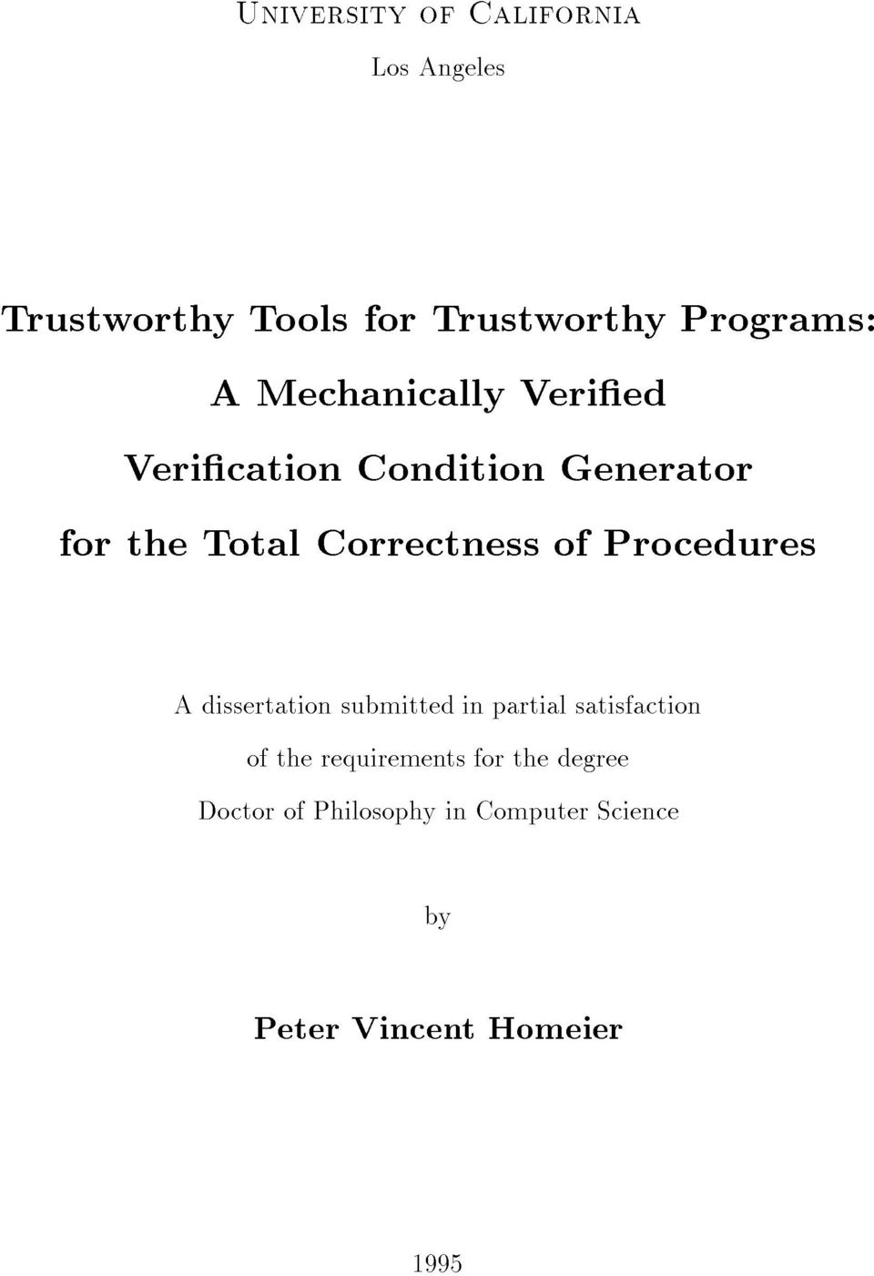 Procedures A dissertation submitted in partial satisfaction of the requirements