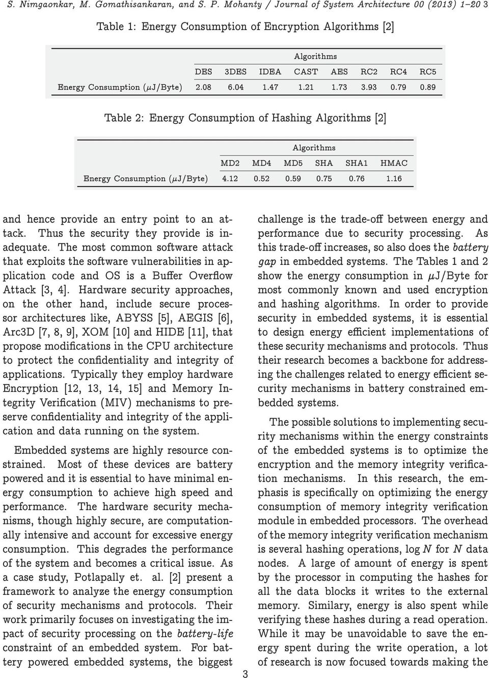 47 1.21 1.73 3.93 0.79 0.89 Table 2: Energy Consumption of Hashing Algorithms [2] Algorithms MD2 MD4 MD5 SHA SHA1 HMAC Energy Consumption (J/Byte) 4.12 0.52 0.59 0.75 0.76 1.