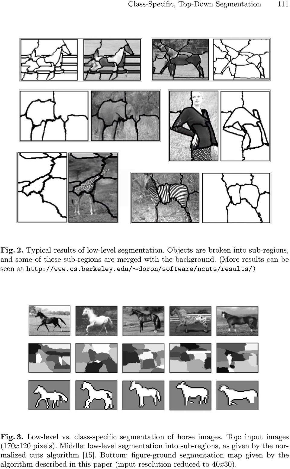 edu/ doron/software/ncuts/results/) Fig. 3. Low-level vs. class-specific segmentation of horse images. Top: input images (170x120pixels).