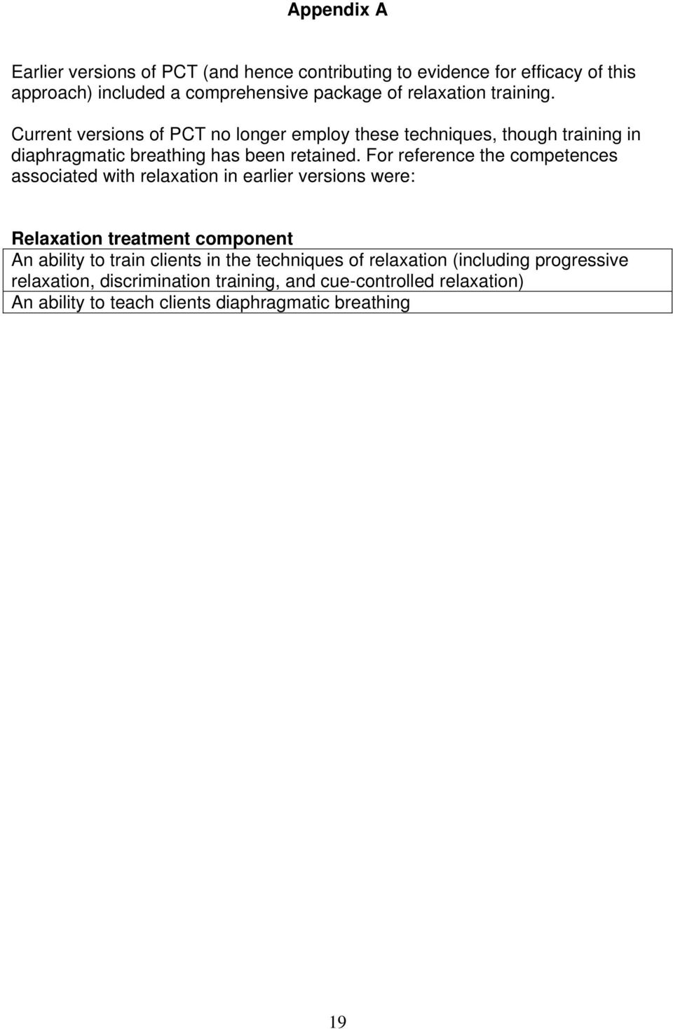 For reference the competences associated with relaxation in earlier versions were: Relaxation treatment component An ability to train clients in the