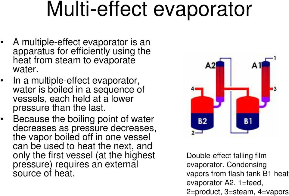 Because the boiling point of water decreases as pressure decreases, the vapor boiled off in one vessel can be used to heat the next, and only the first