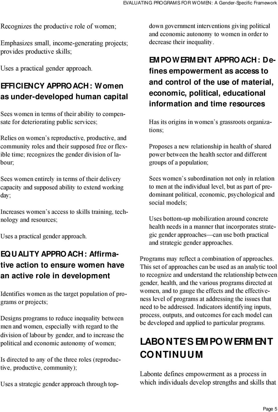 EFFICIENCY APPROACH: Women as under-developed human capital P Sees women in terms of their ability to compensate for deteriorating public services; P Relies on women s reproductive, productive, and
