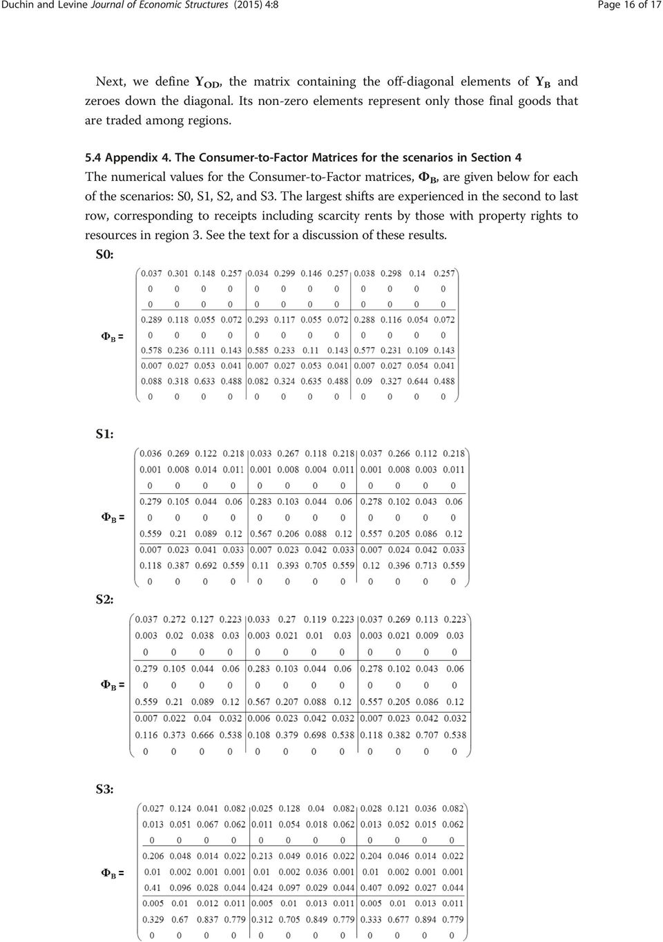 The Consumer-to-Factor Matrices for the scenarios in Section 4 The numerical values for the Consumer-to-Factor matrices, Φ B, are given below for each of the scenarios: S0,