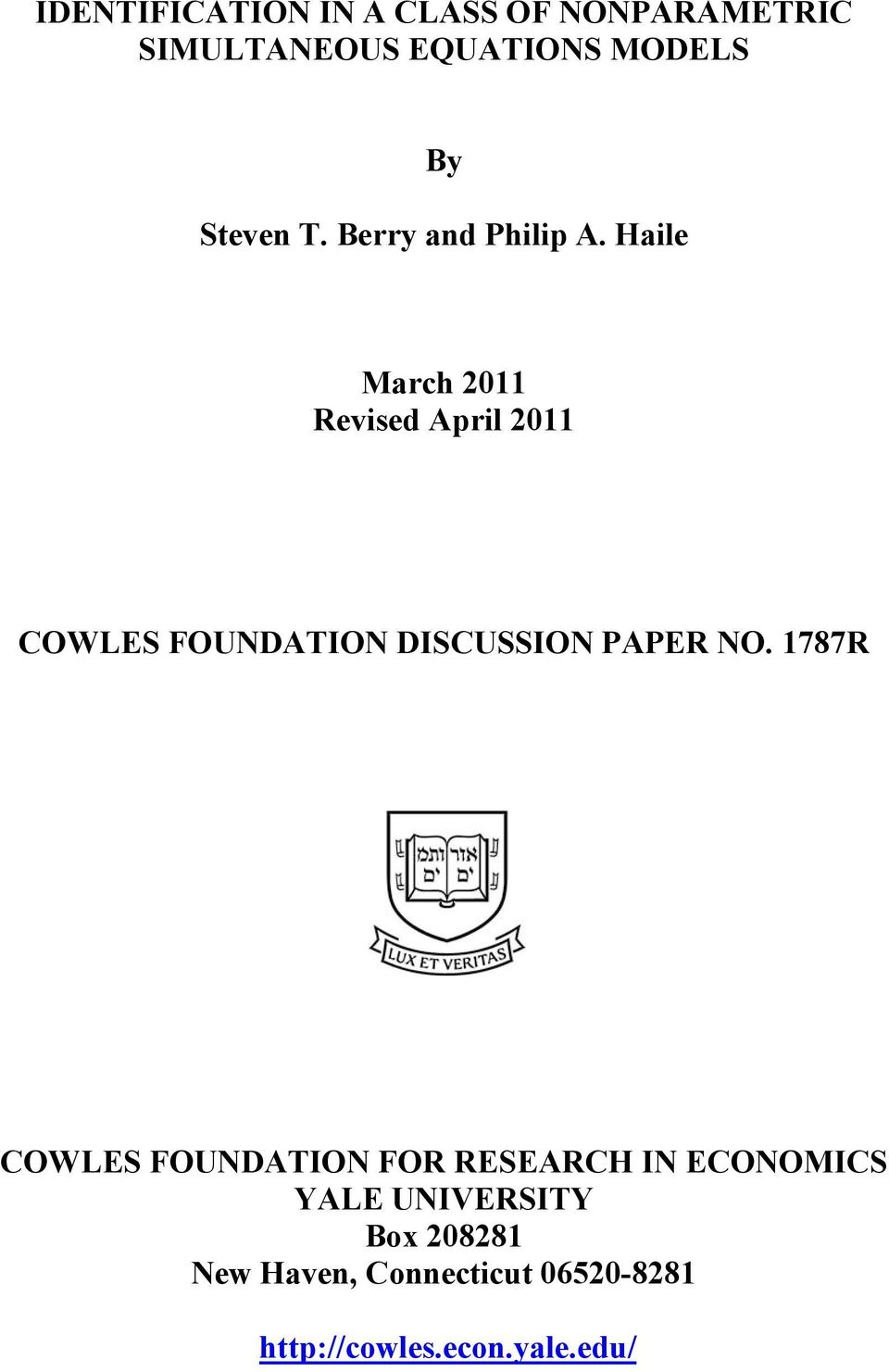 Haile March 2011 Revised April 2011 COWLES FOUNDATION DISCUSSION PAPER NO.